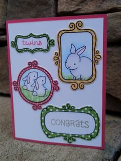 Lawn Fawn - Flirty Frames + coordinating dies, Hello Baby, Home Sweet Home _ Sweet baby card by Chris via Flickr - Photo Sharing!