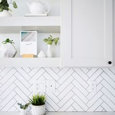 A simple and easy to follow step-by-step tutorial to make a beautiful herringbone backsplash pattern using individual 2-inch by 8-inch subway tiles.