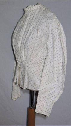 Cute Victorian Cotton Print Blouse / Shirtwaist Sm  $25 ends April 27th