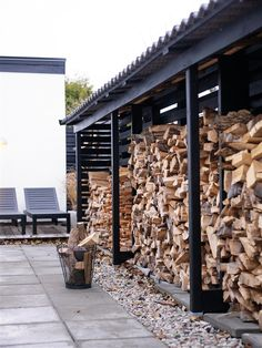 outdoor storage for side of house. Like the pavers and rocks for no mess floor