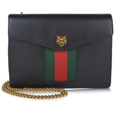Gucci Animalier Leather Shoulder Bag ($1,530) ❤ liked on Polyvore featuring bags, handbags, shoulder bags, black, gucci handbags, stripe handbag, shoulder bag purse, real leather purses and striped handbag