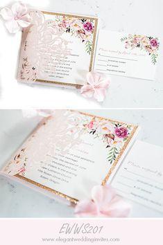 romantic blush pink floral laser cut wedding invitation with glitter bottom card