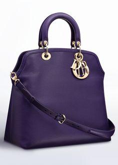 Dior ~ 'DIOR GRANVILLE' TOTE BAG PURPLE GRAINED CALFSKIN