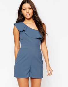 ASOS+One+Shoulder+Playsuit+with+Ruffle+Detail