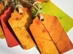 Wonderful autumn leaf tags...color photo copy leaves and cut out into tags. Could do this with everygreen, etc. for Christmas?