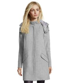 Vince Light Heather Grey Wool Fur Lined Hooded Coat