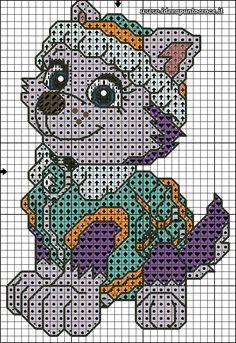 schema Punto croce Everest Paw patrol Plus Cross Stitch For Kids, Cross Stitch Baby, Cross Stitch Charts, Cross Stitch Patterns, Needlepoint Patterns, Perler Patterns, Knitting Patterns, Crochet Patterns, Paw Patrol Everest