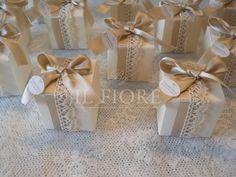 Bomboniera matrimonio comunione cresima shabby chic scatola in cartone cod. 326E
