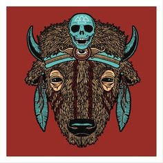 Buffalo (Spirit Animal) print designed by Matt Leunig. the global community for designers and creative professionals. Omg Posters, Buffalo Art, Custom Screen Printing, Poster Prints, Art Prints, Commercial Art, Spirit Animal, Artsy Fartsy, Moose Art