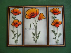 These poppy cards were made by Gillian O'Conner from Australia. The Memory Box dies are 98879 (2 flowers) and 98762 (Single fl...