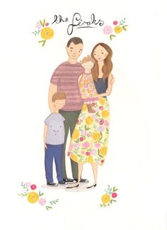 custom illustrated Family portrait by Emma Block