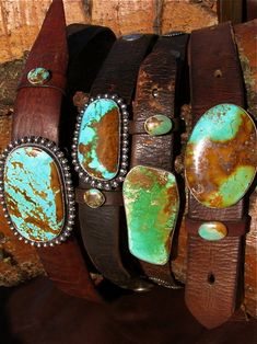 Vintage leather belts with faded tourquoise buckles - LOVE.