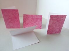 Sets of 4 - Pink Floral/Florish Folded Gift Tags