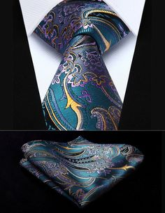 "Party Wedding Classic Pocket Square Tie TP820Q8S Aqua Purple Paisley 3.4"" Silk Woven Men Tie Necktie Handkerchief Set"