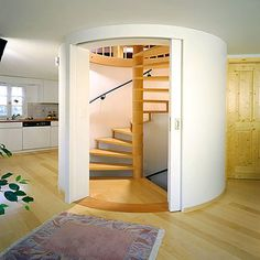 Wall Sliding Doors Interior : Interior Design Ideas Including Circle Stairs In Nice Color And White Circle Sliding Door Also Pipe Gypsum Tre. Sliding Wood Doors, Sliding Barn Door Hardware, Wooden Doors, Door Latches, Pine Doors, Door Hinges, Escalier Art, Door Fittings, Yellow Interior