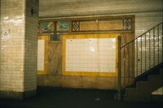Chambers Street - The east side platform is intact. The wall decoration includes a ceramic of the Brooklyn Bridge, incorrectly shown with only vertical suspension ropes.  However, the ceramic artist can't be faulted for the Brooklyn Bridge cables. They were wrong in the contract drawings, as seen below the earliest drawings of the station from 1907, when it was still to be named Brooklyn Bridge.