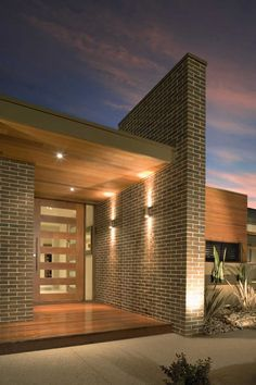 Amazing Brick Building Designs You Need See Entrance Design, House Entrance, Facade Design, Door Design, House Design, Modern Brick House, Modern House Facades, Timber House, Brick Building