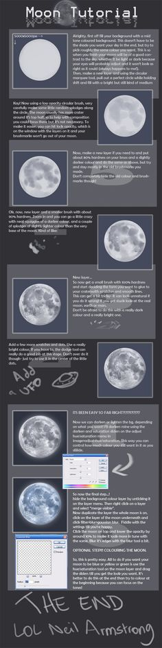 """ Tutorial,"" by Spell, at deviantART.Moon: "" Tutorial,"" by Spell, at deviantART. Digital Painting Tutorials, Digital Art Tutorial, Painting Tools, Art Tutorials, Acrylic Tutorials, Paint Tool Sai, Coloring Tutorial, Grafik Design, Book Of Shadows"