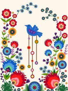 Traditional Polish Folk art Design by Rejke Folk Embroidery, Embroidery Patterns, Embroidery Tattoo, Polish Embroidery, Bordado Popular, Polish Folk Art, Muster Tattoos, Illustration Blume, Scandinavian Folk Art