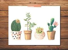 Image result for cactus plant hand drawn pastel watercolor free