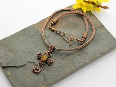 Celtic Cross - Copper wirework cross with Yellow Chalcedony on a Viking knit chain - Copper wire with Yellow Chalcedony