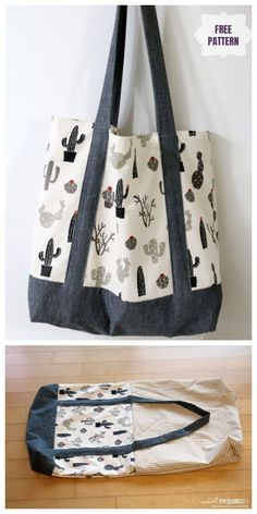 DIY Double-Sided Fabric Eco Shopping Bag Free Sewing Pattern & Tutorial - - DIY Double-Sided Fabric Eco Shopping Bag Free Sewing Pattern & Tutorial Sew/No-Sew DIY Doppelseitiger Stoff Eco Einkaufstasche Kostenloses Schnittmuster & Tutorial Bag Patterns To Sew, Sewing Patterns Free, Free Sewing, Free Pattern, Pattern Sewing, Fabric Sewing, Pattern Fabric, Diy Purse Sewing, Easy Tote Bag Pattern Free