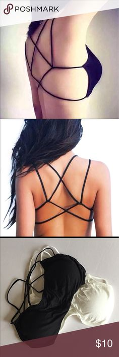 🔥 Bralette strappy caged bra crop to sports yoga Very soft bralette with a strappy design. Comfortable. One size fits most. Removable pads Intimates & Sleepwear Bras