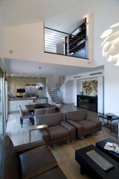 modern living room, dining room, small kitchen, loft apt.