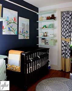 Navy accent wall with yellow navy curtain. Just don't need a nursery!