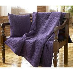 purple quilted throw