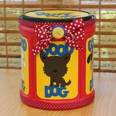 Or you can make a treat container for your kids instead of a dog treat container! - Made out of a plastic coffee container