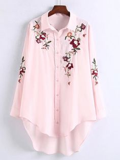The shirt is featuring turn down collar, long sleeve, button down and floral embroidery. The shirt is casual and fashion. It's suitable for daily life, work, outdoors and many occasions. Shirt Embroidery, Embroidery Fashion, Embroidery Designs, Flower Embroidery, Kurta Designs Women, Blouse Designs, Hijab Fashion, Fashion Dresses, Stylish Dresses