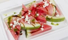 Florida Watermelon Slices with Balsamic Syrup, Mint Oil and Feta Cheese