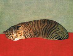 """blackcoffeecinnamon: """" Hasegawa Rinjirou (1904-1988)  長谷川 潾二郎 Cat  猫、1966 """""""