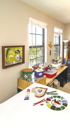 """QT: Are You in Your Happy Place? Make your mosaic studio your inspirational space. Hang some of your artwork, keep it well-lit and organized so when you walk in, you are in your """"happy place."""" More awesome mosaic info at:"""
