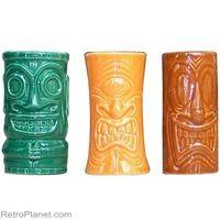 Tiki Shot Glass Mugs - multicolored, ceramic #tiki #luau  http://www.retroplanet.com/PROD/29947