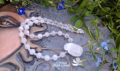 White gemstone necklace choker necklace white and pink