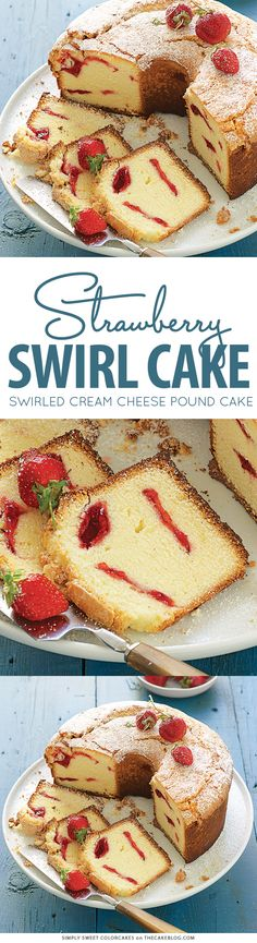 Strawberry Swirl Cream Cheese Pound Cake | on TheCakeBlog.com