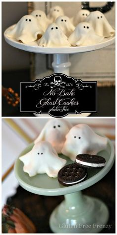 These no-bake ghost cookies are SO delicious that you won't be able to eat just one! They are so easy to make and couldn't be cuter. They are gluten-free but nobody would every know. They are perfect for your Halloween party. glutenfreefrenzy.com | Gluten