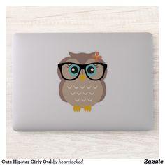 Owl hipster red glasses art print Wise bird on branch artwork dorm decor