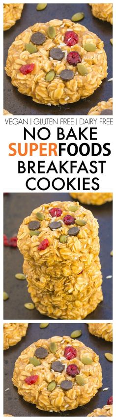 Healthy No Bake Superfoods (detox) Breakfast Cookies- Ready in just 5 minutes and packed full of healthy ingredients to keep you satisfied for hours! {vegan, gluten free, refined sugar free recipe Healthy No Bake Superfoods (d Gluten Free Recipes, Vegan Recipes, Snack Recipes, Cooking Recipes, Detox Recipes, Baby Recipes, Nutribullet Recipes, Soup Recipes, Health Foods
