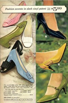 1960s Fashion: What Did Women Wear? Vintage Shoes, Vintage Outfits, Vintage Fashion, 1980s Shoes, Country Wear, Platform Wedges Shoes, Evolution Of Fashion, Sixties Fashion, Low Heels