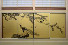 "Digital reproduction of Paintings at Daijo Temple, ""Kujaku No Ma"", Painted by Okyo Maruyama, Pine and Peacock a/k/aPine Trees and Peacocks. Production: Hiromu Yoshimoto. Printing: Dai Nippon Printing Co. , Ltd. DV-JET Printing over gold leaf"