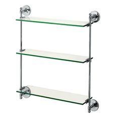 powder room | Gatco Premier 3-Tier Wall Glass Shelf  in Chrome $114
