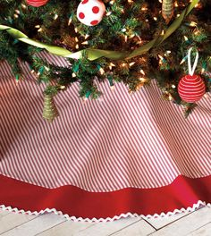 Vintage style red ticking Christmas tree skirt