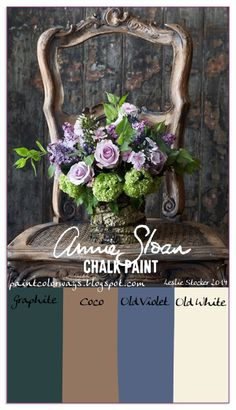 COLORWAYS    A French Provincial Chair inspires an Annie Sloan Color palette of Old Violet, and Coco. Mix each with Graphite for shades, and Old White for tints.