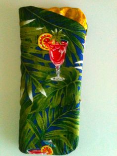 Hawaiian Fabric Drinks Cocktails Aloha Fabric Eyeglass Case Sunglasses Glasses Holder. $8.00, via Etsy.