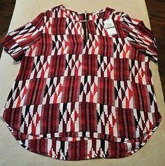 Michael Kors Women's Short Sleeve Dress Shirt Multicolored Size Large New