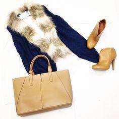 Fur Vest $56 Boots $38 Bag $76 @ Primp Boutique