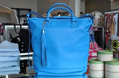 Love this new DVF bag in blue!
